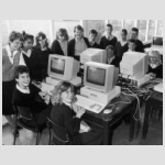 Teachers and pupils try out the new computers in Bilton High Schools IT classroom. 26th September 1988 - Period Photo